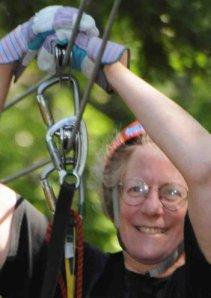 Marcia Yudkin on a Zipline